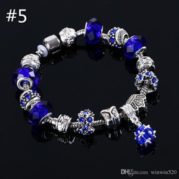 Wholesale Murano Boxes Sets - beaded charms bracelet 6 Colors Fashion Silver Daisies Murano European Charm beads Fits White Lobster jewelry bracelets