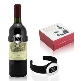 Wholesale Meter Electronics - Automatical Electronic LCD Red Wine Bottle Thermometer Digital Wine Watch Temperature Meter Bottle Thermometer Wine Tools CCA6431 50pcs
