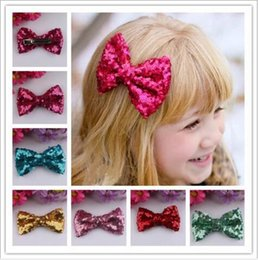 Wholesale Rhinestone Bow Hair Clip - 2016 New Style Fshion Europe Baby Girls Bow Hairpin For Cute Girls Children Sequins Hairpin Large Bow Hair Clip Jewelry