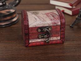 Wholesale Chest Box Storage - Vintage wooden box classic stamp small storage box Retro wedding favor box Mini Treasure Chest, Small