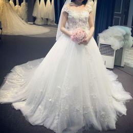 Wholesale Wedding Dress Back Tail - 2017 Cheap Princess Lace Wedding Dresses High Quality Romantic Zipper Back With Button Court Tail Flowers Wedding Gowns Vestidos De Novia