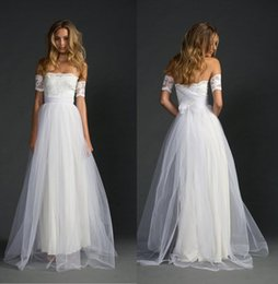 Wholesale Lace Arm Wedding Dresses - New Arrival Lace arm Separately Grace Lace Wedding Dresses Lace Tulle Bridal Gowns A-Line Beach Wedding Dress