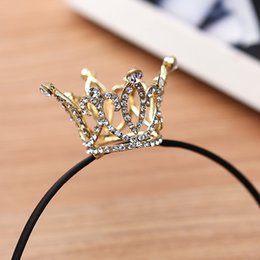 Wholesale Celtic Crystal Headband - Wholesale Crown Design Wedding Tiara Diamante Gold Plated Crystal Rhinestone Headband Headpiece Bridal Jewelry Accessories for Women