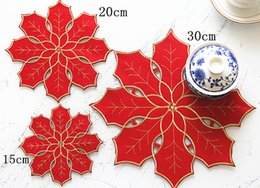 Wholesale Red Placemats - Wholesale- AISONG Christmas Festive red double cloth placemats Christmas Placemat coasters tinsel embroidery christmas snowflake pad