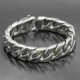 """Wholesale Stainless Steel Bracelet 15mm - Men Women Silver Curb Cuban Chain Link Bracelet 316L Stainless Steel 15mm 7.5"""""""