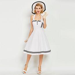 Wholesale Rockabilly Halter - NEW Women's Vintage 1950s Rockabilly Audrey Hepburn Dress Chic Slim Halter Sailor Dresses Retro Cocktail Party Dresses Summer Casual Dresses