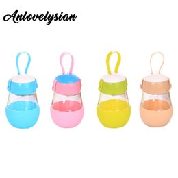 Wholesale Big Advertising - Wholesale- Anlovelysian Creative Penguin Shape Water Bottle With Lid Robot Cover Big Belly Water Glass Bottle With Rope Advertising Gift