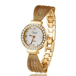 Wholesale Watch Women Rose Gold Classic - clock brand 2017 New Casual Luxury Brand Cussi Women Dress Wrist Watches Classic Bracelet Rhinestone Quartz Rose Gold Watch Atmos Clock