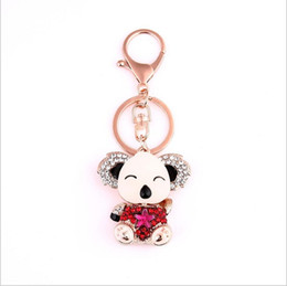 Wholesale Ring Teddy - 2017 fashion Crystal Mosaic oil drip Key rings key Chain women jewelry Cute teddy bear For Lovely Car Key chain wholesale free shipping