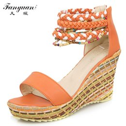 Wholesale Size 42 Wedges - Wholesale-2016 New Arrival Sexy Ankle strap Sandals Woman's fashion Wedges Bohemia Heel heel sandles Big size 33-42