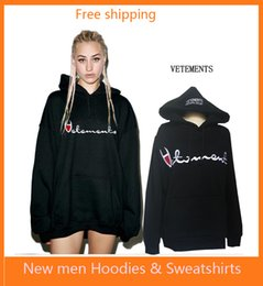 Wholesale Hooded Coat Black - New hot VETEMENTS Hooded sweater star with the oversize letter embroidered men and women plus cashmere loose thick coat
