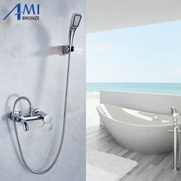 Wholesale Copper Shower Faucets Controls - Bathroom Mixer Bath Tub Copper Mixing Control Valve Wall Mounted Shower Faucet concealed faucet