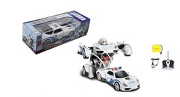 Wholesale Remote Control Cars Sound - RC Toy Transforming Robot Remote Control Police Car with One Button Transformation, Realistic Engine Sounds and 360 Speed #278495