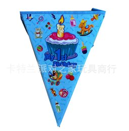 Wholesale Paper Pennant - Wholesale-Free shippig, 4.0 Meter the blue my 1st birthday cartoon pennants Paper Flag birthday party decorations kids 12 flags