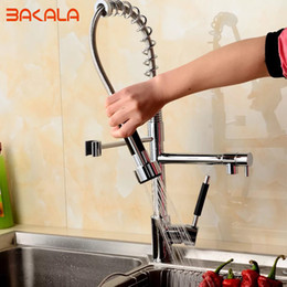 Wholesale Taps Kitchen Double Handle - BAKALA New Free Shipping Pull Out Faucet Kitchen Chrome Sink Mixer Tap Double Handle 50cm height