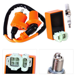 Wholesale Racing Cdi Gy6 - Racing Ignition Coil +Orange CDI +Spark Plug Fit for GY6 50cc 125cc 150cc Scooter ATV Go Kart Moped