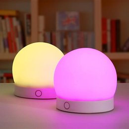 Wholesale Table Lamp Bedroom Led - Lovely Silicone LED Night Light Baby Rechargeable Touch Sensor Light Kids Colorful Nightlight for Baby Bedroom Led Table Lamps