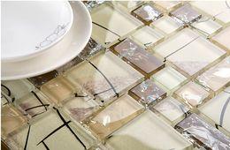 Wholesale Glass Shower Tiles - Crystal Ice Crack Glass mosaic tile kitchen backsplash bathroom wall shower TV tub background wall Art decor design,LSBV1101C