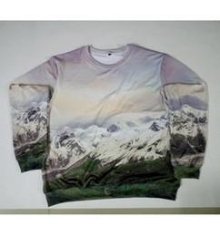 Wholesale Moon Mountains - Real USA size cutom made Ice Mountain Moon 3D Sublimation print Sweatshirt Crewneck Plus Size