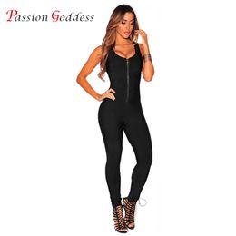 Wholesale Sexy Women Overalls - Wholesale- New 2017 Summer Women Sexy Sleeveless Jumpsuit Female Romper Front Zipper O Neck Bodycon Bodysuit Skinny Slim Overalls For Women