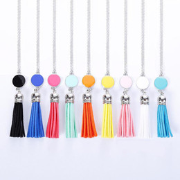 Wholesale Wholesale Custom Necklaces - Personalized Initial Monogram Blanks Acrylic Disc Velvet Tassel Long Chain Pendant Necklaces Sweater necklace for Custom Women Jewelry