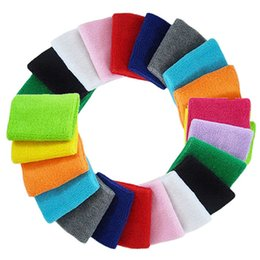 Wholesale Football Sweatbands - Wholesale- 100 Pieces Cotton Wristband Tennis Jogging Basketball Football sweatband Sports wrist band color mix