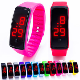 Wholesale Wholesale Digital Wrist Watches - 2017 new Sports rectangle led Digital Display touch screen watches Rubber belt silicone bracelets Wrist watches