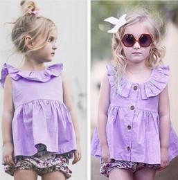 Wholesale Boat Neck Cardigan - 2017 Cotton Girls Baby Dresses Summer Purple Princess Dress for Girls Clothing Ruffled Cardigan Infant Clothes Casual Dresses Wholesale