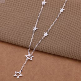 Wholesale Star Necklaces For Women - Wholesale-2015 Fashion silver Star Pendant & thin necklace pretty sexy jewelry for women High quality wholesale price