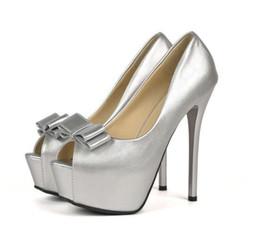 Wholesale Nude Bridesmaids Shoes - Eegant bridesmaid silver bowtie peep toe platform high heels pumps women wedding shoes size 34 to 39