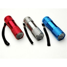 Wholesale Nature Series - Led Light Series 4 Colors Camping Torch Flashlights 9 LED Torch 300LM Mini LED Flashlight Lamp 3AA Battery Powered Torches Good Lighting