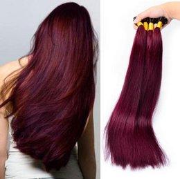 Wholesale Keratin Bonded Hair Extensions - V tip 99J 1g strand 100strands lot keratin pre bonded 8A remy human hair fusion hair extension