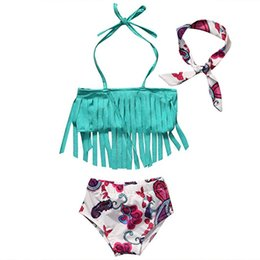 Wholesale Baby 3pc Sets - Infants girls cute tassels bikini 3pc set headband+tassels halterneck top+bow flower shorts baby beach clothes outfits for 0-2T