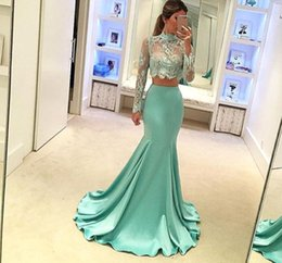 Wholesale transparent dress piece - Mint Long Sleeve Two-piece Prom Dresses 2017 High Neck Vintage Lace Mermaid Evening Party Gowns Sexy Transparent Top Pageant Gowns BA3838