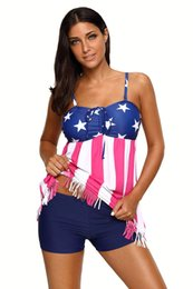 Wholesale American Flag Swim Suits - CRYG Hot Swimwear Bikini 2017 Sexy Beach Swimming Suit For Women American Flag Tankini Swimsuit Traje De Bano Mujer