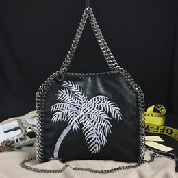 Wholesale Imported Photos - 100% real photos Imported PVC Tote Bag Embroidery Coconut tree three Silver Chains Handbag woman's fashion crossbody Shoulder Bags