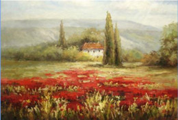 Wholesale Red Tree Wall Art - Tuscany Landscape House Trees on Red Poppy Flower Field,Handpainted Wall Art Oil Painting On Canvas.Various Sizes Free Shpping Ls042