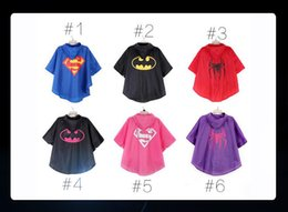 Wholesale Batman Rain Coat - New Arrival Children Raincoat The Little Baby Boys Girls Clothes Waterproof Rain Coat With Bags Superman Batman Spiderman Superhero DHL Ship