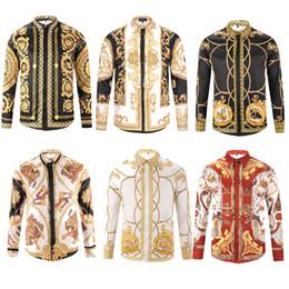 Wholesale autumn shirt men - HOT Autumn winter Harajuku Medusa gold camisa hawaiana chain Dog Rose print shirts Fashion Retro floral sweater Men long sleeve tops shirts