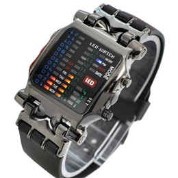 Wholesale Led Digital Binary Watch - New Arrival Popular Square Dial Uisex Binary LED Digital Watches Plastic Band Casual Sport Wrist Watch 5V5U