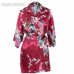 Abiti casual di raso delle signore online-All'ingrosso- Stampa Breve Satin Plus Size Ladies 'Camicia da notte Sexy Kimono Bath Gown Damigella d'onore Wedding Robe Dress Casual Night Dress