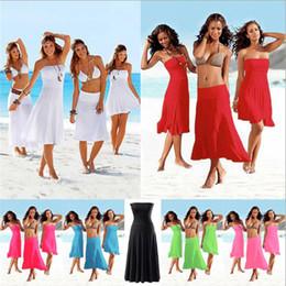 Wholesale Tube Swim Wear Women - 11 Colors More Wear Beach Cover Up Bikini Swimwear Women Tube Top Beach Dress Swimming Cover Ups Bathing Suit Rip Curl