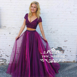 Wholesale teal ruffle prom dress - Two Piece Organza Prom Dresses 2018 V Neck Short Sleeves Sequins Beaded Floor Length Backless Teal Green Black Purple Party Dresses
