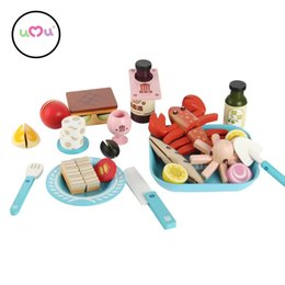 Wholesale Play House Set - Wholesale- [Umu] Children's Wooden Toys Firl Flavor Of The Aegean Sea Kitchen Cooking Utensils Cutlery Sets Play House Educational Toys