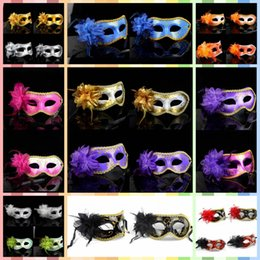Wholesale Back Drops For Weddings - Fashion Women Sexy mask Hallowmas Venetian eye mask masquerade masks with flower feather Easter mask dance party holiday drop shipping
