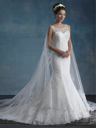 Wholesale Semi Mermaid Wedding Dresses - Cape Wedding Dresses 2017 Mary's Bridal Unspoken Romance with Sheer Jewel Neck and Semi-Cathedral Watteau Train Mermaid Brides Gowns
