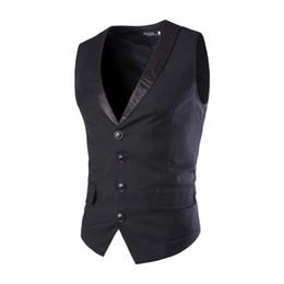 Wholesale Mens Black Waistcoats - Wholesale- New Designs Mens Suit Vest Patchwork V-Neck 4 Buttons Blazer Weste Grey Black Wedding Dress Vests For Men Slim Fit Waistcoat
