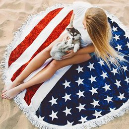 Redondo patrón de la bandera americana Playa Toalla de playa Bikini Cover Bohemia Beachwear Chiffon Beach Sarongs Shawl Toalla de baño Yoga Mat XL-A367 desde fabricantes