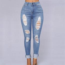 Wholesale Denim Jeans For Women - Wholesale- Retro Hole Design Loose Jeans Woman High Waist Women's Denim Pants New Fashion Full Length Trousers For Women Pencil Pants