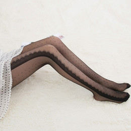 Wholesale Pantyhose Woman Dot - Wholesale- Ladies Sexy Black Side Lace Ruffles Eyelashes Style Dots Tights Stockings Pantyhose hot